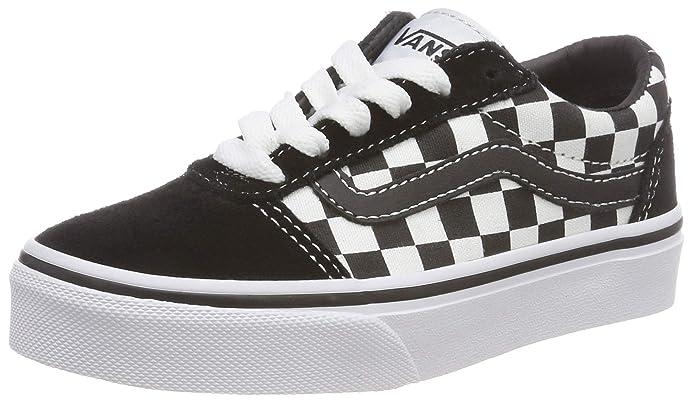 Vans Unisex-Kinder Ward Suede/Canvas Sneakers Schwarz-Weiß Kariert Größe EU 39