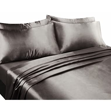 EliteHomeProducts Super Soft & Silky Satin Sheet Set (Solid/Deep Pocket) (King, Silver)