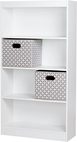 South Shore Axess 4-Shelf Bookcase with 2 Fabric Storage Baskets, Pure White