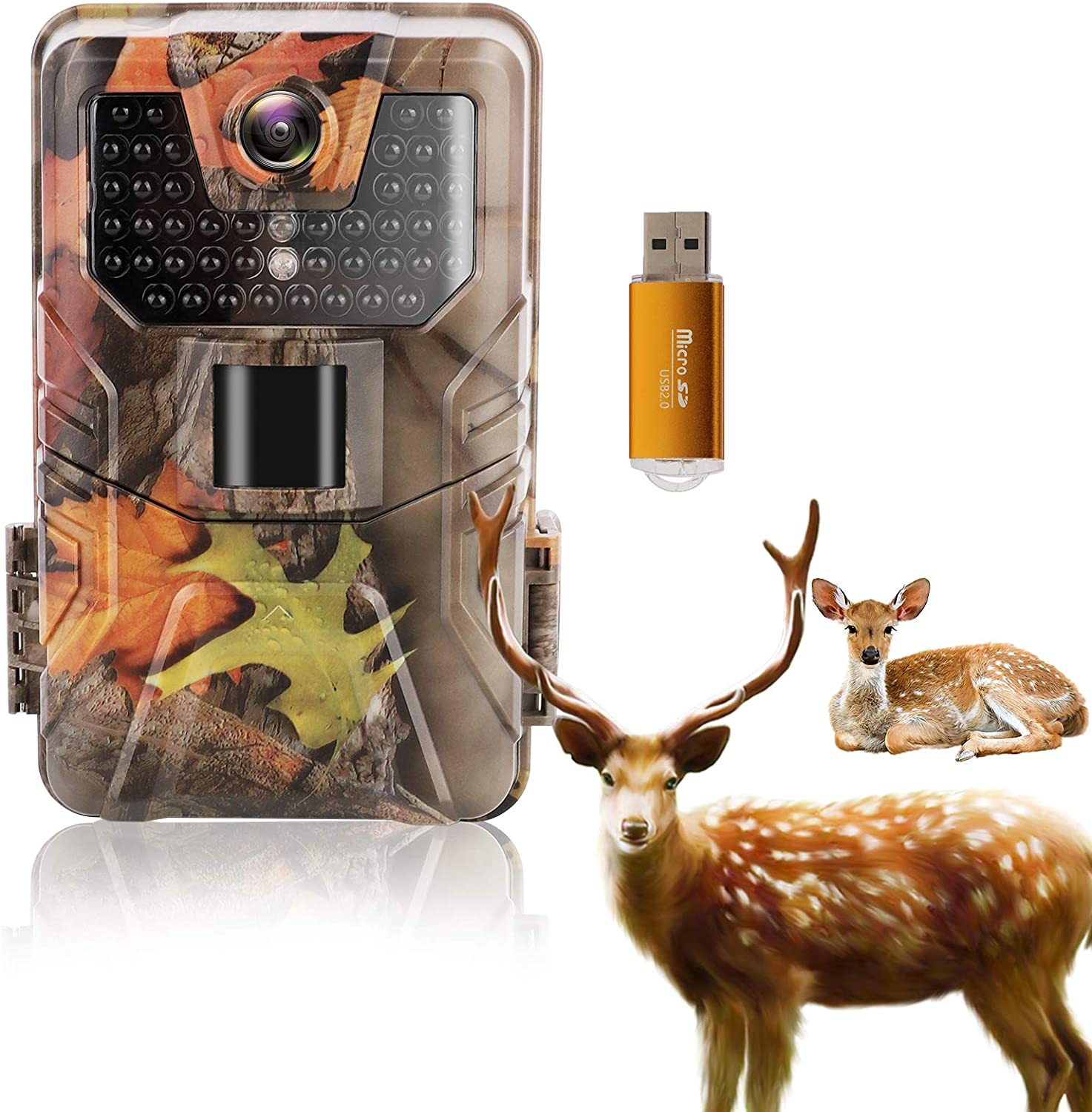 LByzHan Trail Game Camera 36MP 1520P Hunting Cam with USB Night Vision Motion Activated IP67 Waterproof 120° Detecting Range 2.0