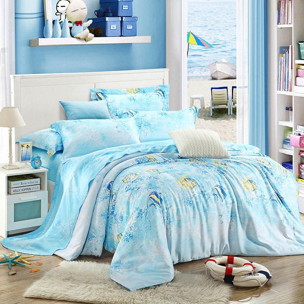 SAYM Home Bedding Sets Modern Fashion Digital Print Tencel Romantic Underwater World 3D Effect Print Set For Lovely Princess Teen Girls, Lady, Duvet Cover & Flat sheet & Pillow Case,4 Pieces,Queen Size