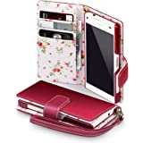 Sony Xperia Z5 Compact Case, Terrapin [Red] [Floral Interior] Premium PU Leather Wallet Case with Card Slots Cash Compartment and Detachable Wrist Strap for Sony Xperia Z5 Compact - Red