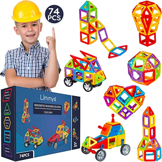 Limmys Magnetic Building Blocks - Unique Travel Series Construction Toys for Boys and Girls - STEM Educational Toy is a Includes 74 Pieces and an Idea Book