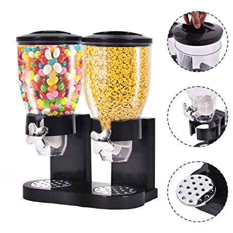 double chamber dry food cereal dispenser airtight kitchen storage twin container amazon com  double chamber dry food cereal dispenser airtight      rh   amazon com