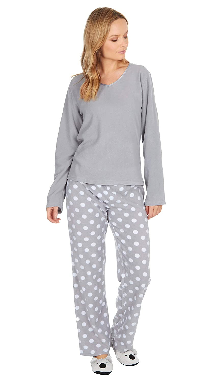 Insignia Mujer 3 Pzas Polar Pijamas Juegos Ropa Cómoda con Pantuflas: Amazon.es: Ropa y accesorios