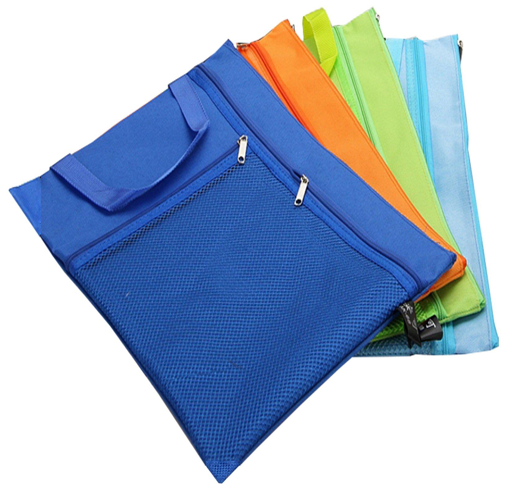 Gorse Expansion Envelope File Bags Canvas Waterproof Zipper Valve Bags Multistory File Folder Pockets Holder for A4 Paper Document Letter Size Picture Color 3 Pcs