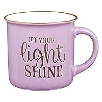 Let Your Light Shine Lavender Camp Style Coffee Mug, Ceramic Campfire Mug Encouraging and Inspirational Mug for Women, 13oz