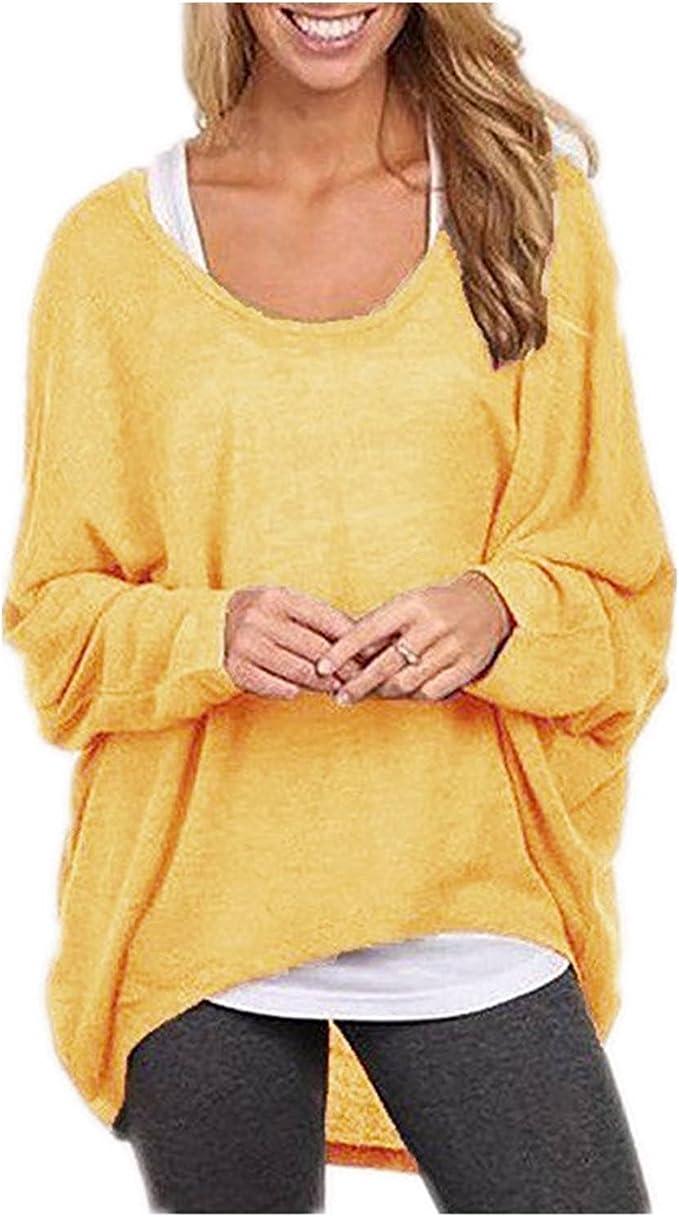 Minetom Mujer Otoño Primavera Suéter Loose Pullover Jerseys Manga Larga Camiseta Tapas Blusa