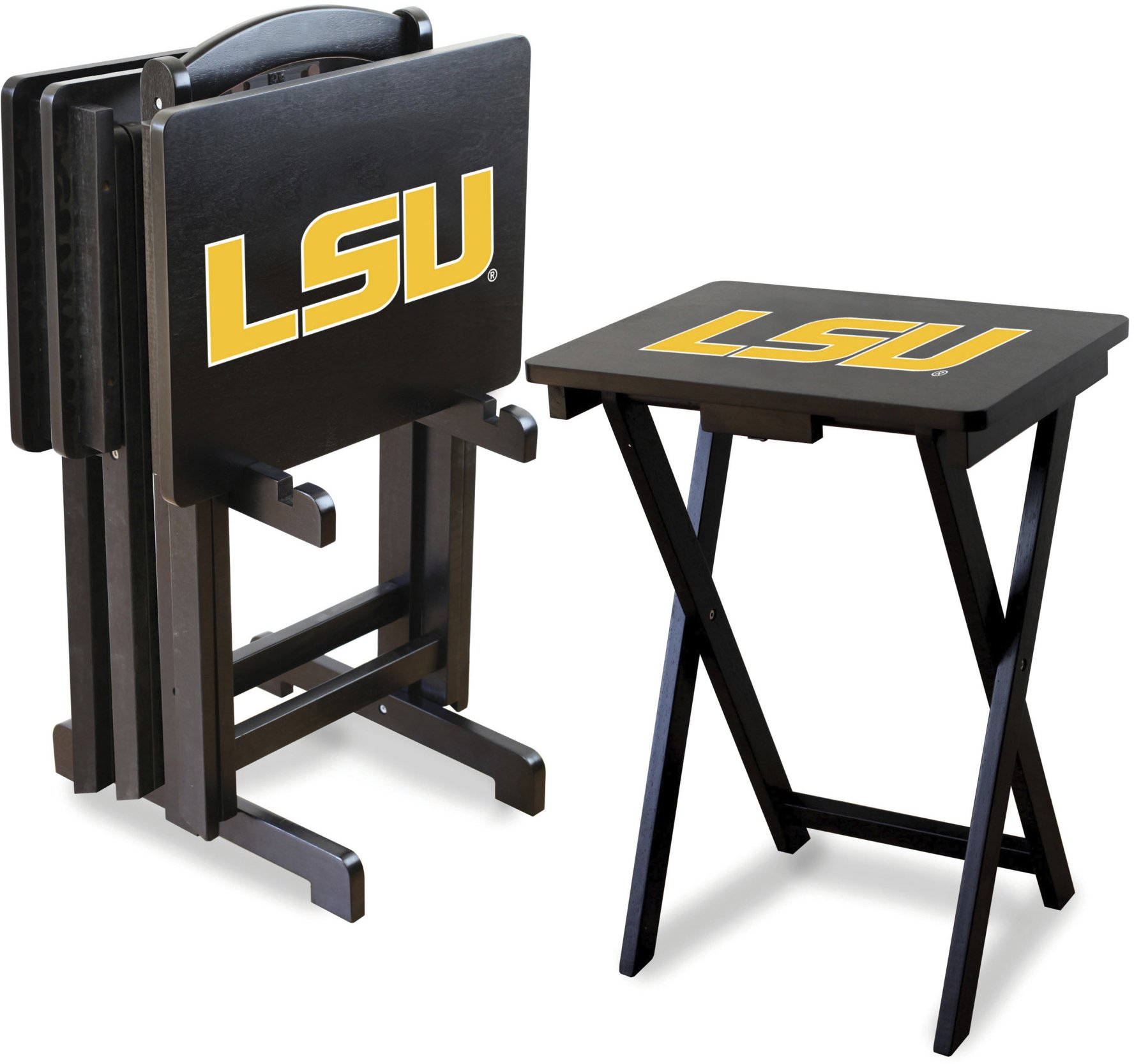 Imperial Officially Licensed NCAA Merchandise: Foldable Wood TV Tray Table Set with Stand, LSU Tigers by Imperial