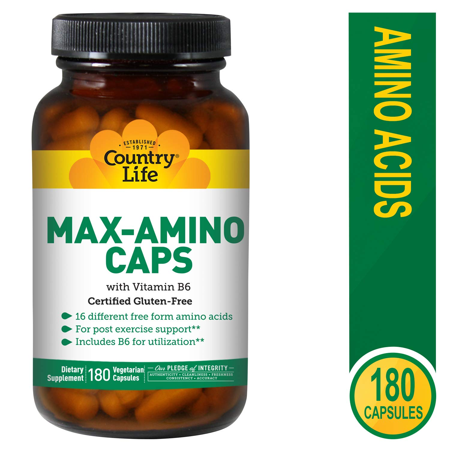 Country Life Max-Amino Caps – 180 Vegetarian Capsules – 16 Different Free Form Amino acids – Post Exercise Support