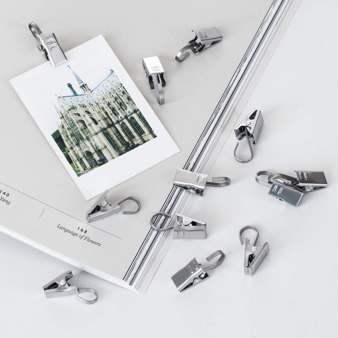 LIHAO 24 Pack Curtain Clips Stainless Steel Shower Curtain Clips with Hook for String Party Light Photos Art Supplies Hook Clip Hanger Sliver
