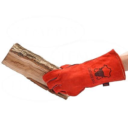 Chimenea Guantes, guantes para barbacoa, horno guante, calor guante protector de piel auténtica
