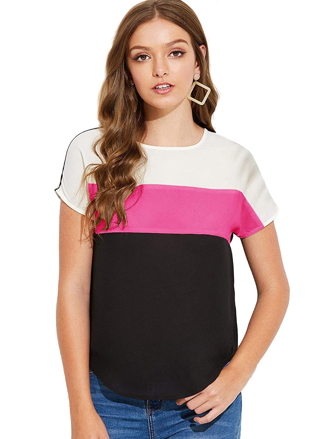 Multi1 Floerns Women's Casual Short Sleeve color Block Striped TShirt Blouse