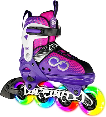 Crazy Skates Adjustable Inline Skates with Light Up Wheels – Roller Blades for Girls and Boys – Available in Four Colors