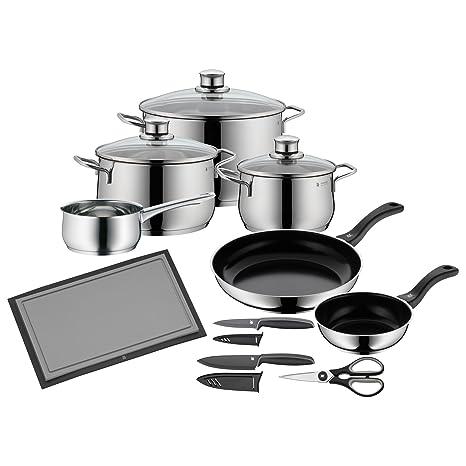 Juego de batería de cocina y utensilios con 10 piezas de WMF, ollas, sartenes, cazo, ...