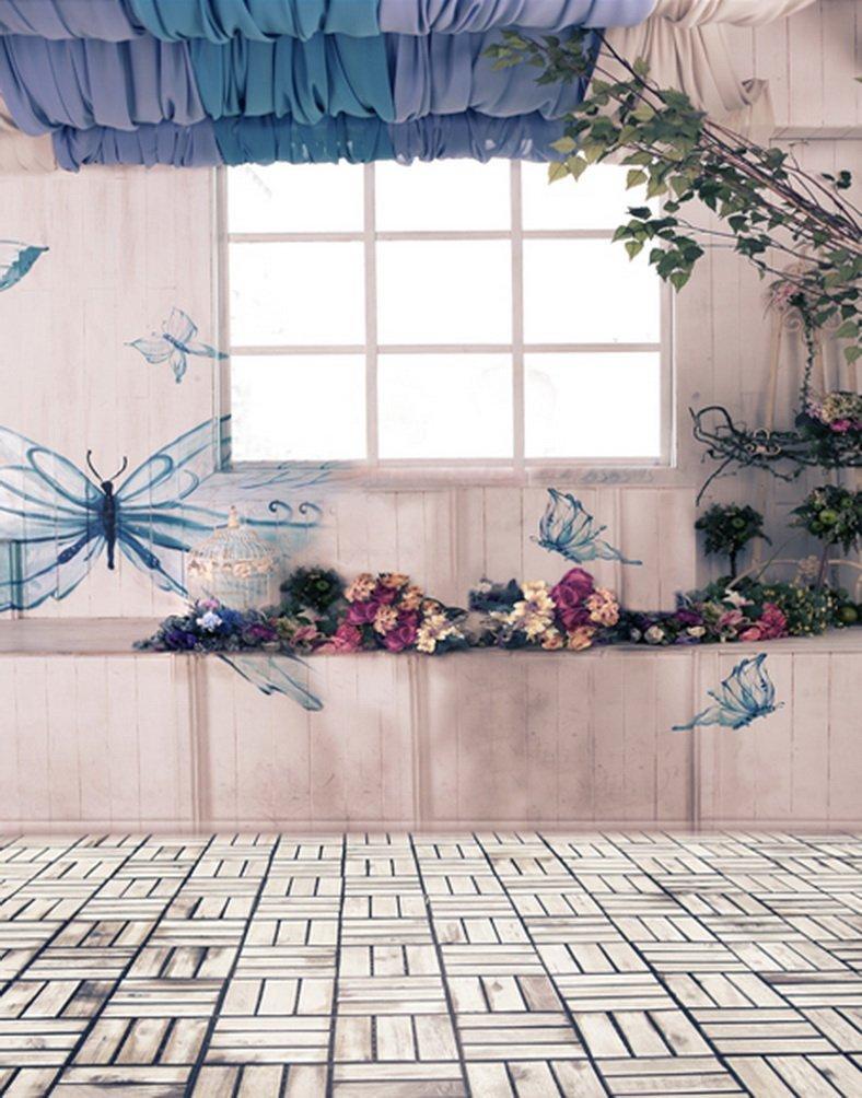 レンガ床花バタフライ写真の背景幕写真小道具Studio背景5 x 7ft   B01GYVC9RU