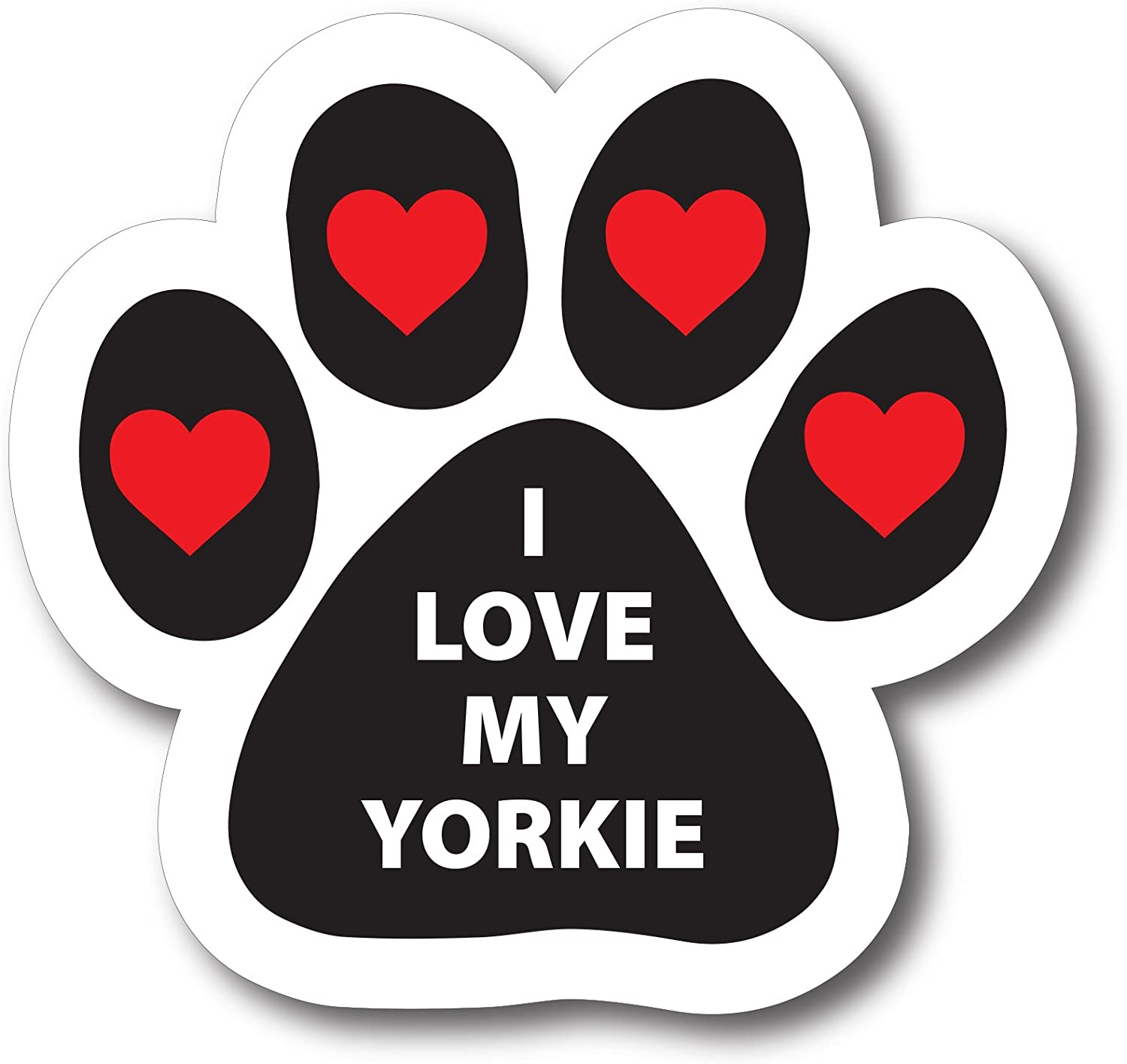 Magnet Me Up I Love My Yorkie Pawprint Car Magnet Paw Print Auto Truck Decal Magnet