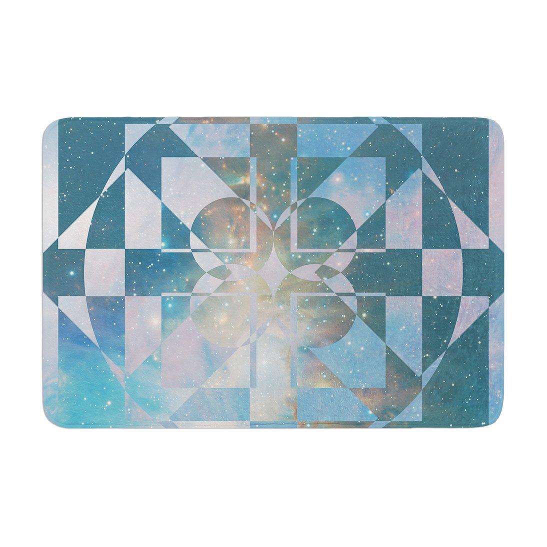 Kess InHouse Matt Eklund Galactic Hope Aqua Blue Memory Foam Bath Mat 17 by 24