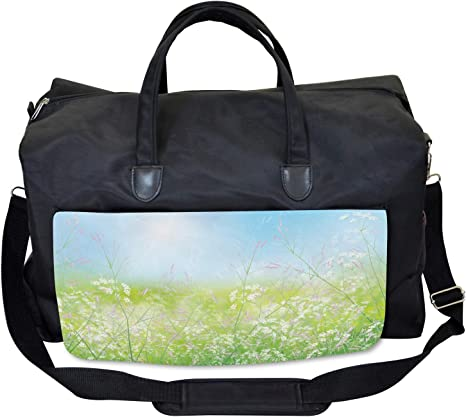 Wild Flowers on Meadow Ambesonne Floral Gym Bag Large Weekender Carry-on