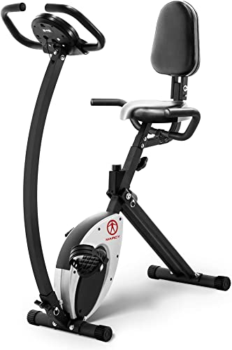 Marcy Foldable Recumbent Exercise Bike with High Backrest and Magnetic Resistance NS-653, Black White, One Size