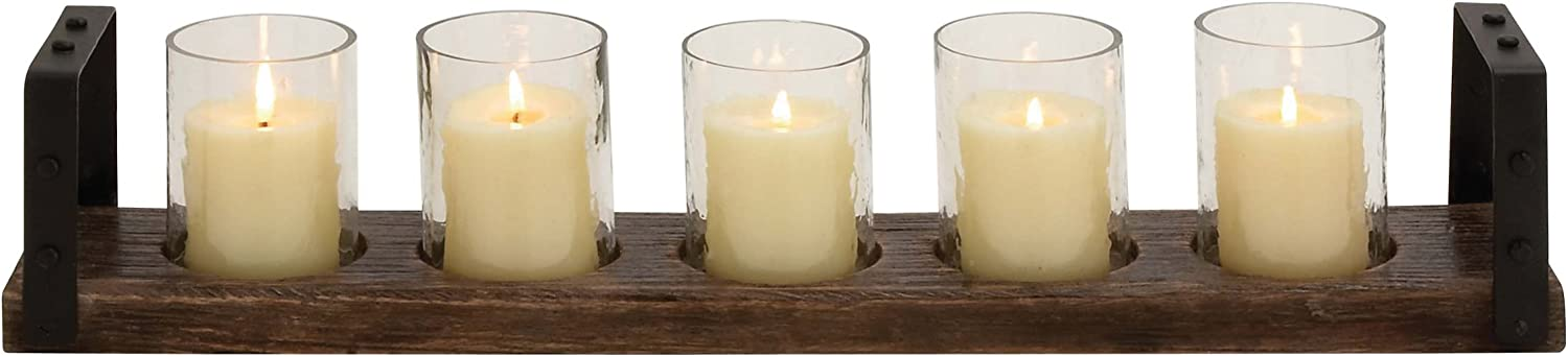 Deco 79 Wood Metal Glass Candle Holder, 28 by 5-Inch