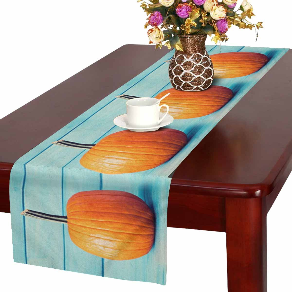 InterestPrint Halloween Decoration Pumpkin over Turquoise Colored Wood Table Runner Linen & Cotton Cloth Placemat Home Decor for Wedding Banquet Decoration 16 x 72 Inches by InterestPrint (Image #1)