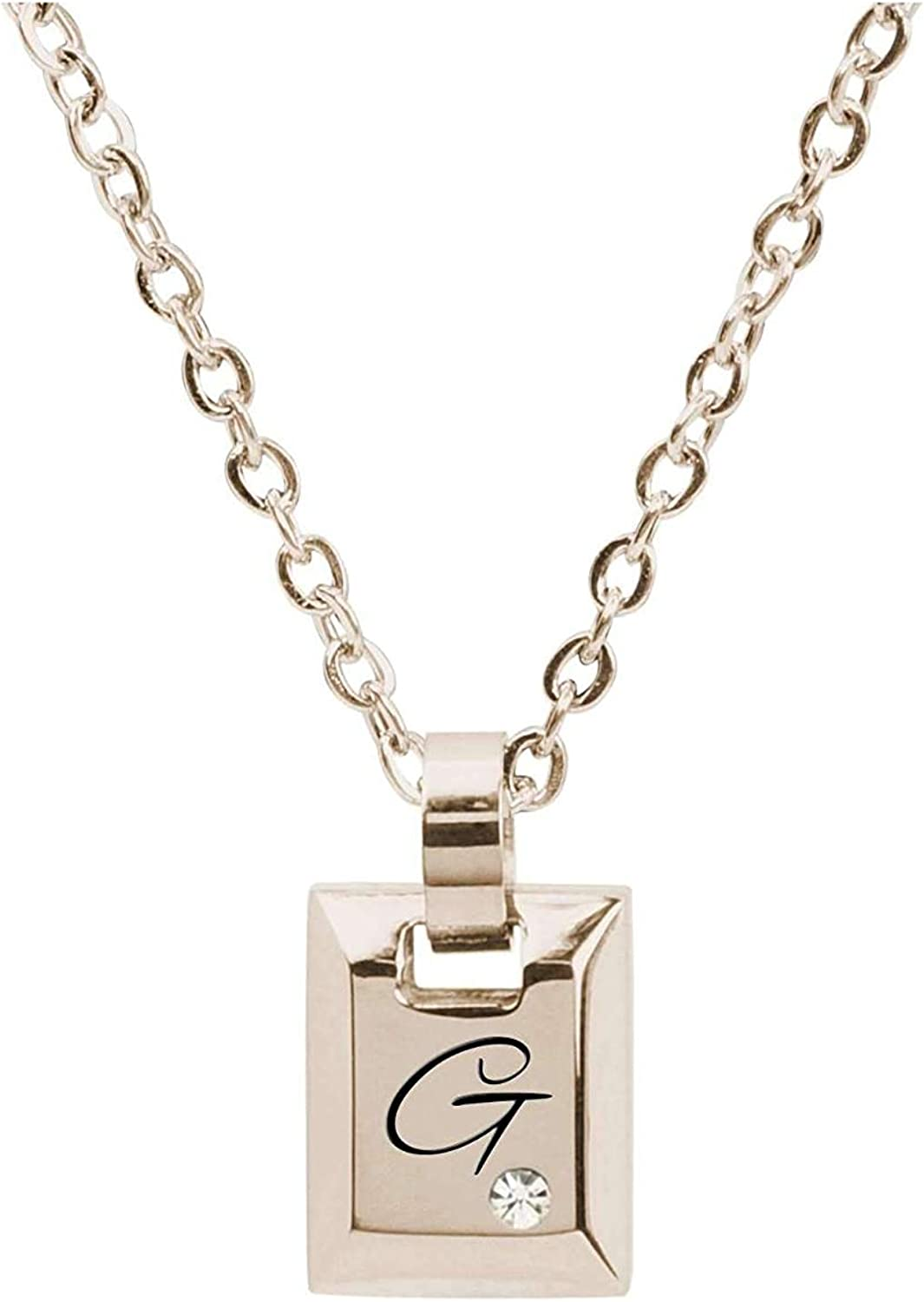 Pink Box Beveled Initial Cube with Cubic Zirconia Gold G