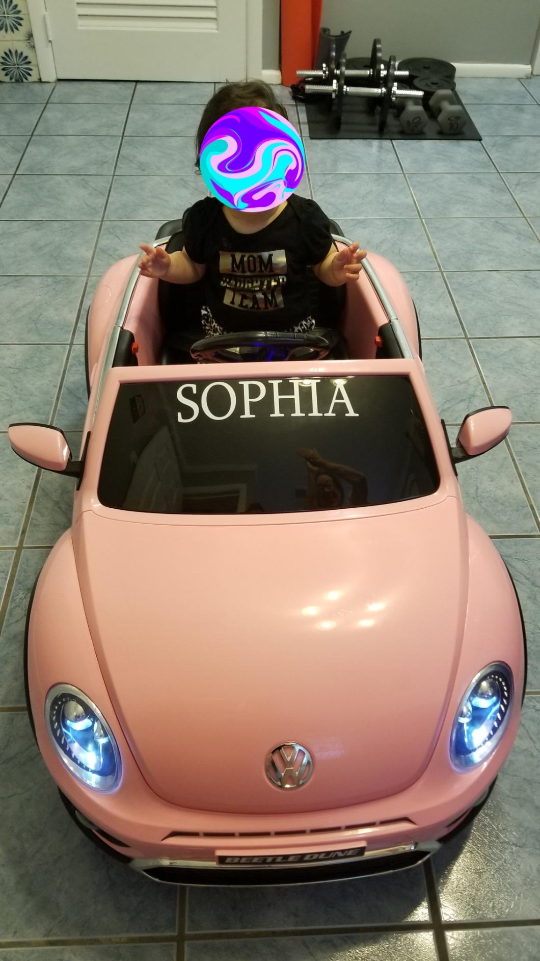 12V Licensed Volkswagen Beetle Dune Kids Electric Car with Remote Control, Pink photo review