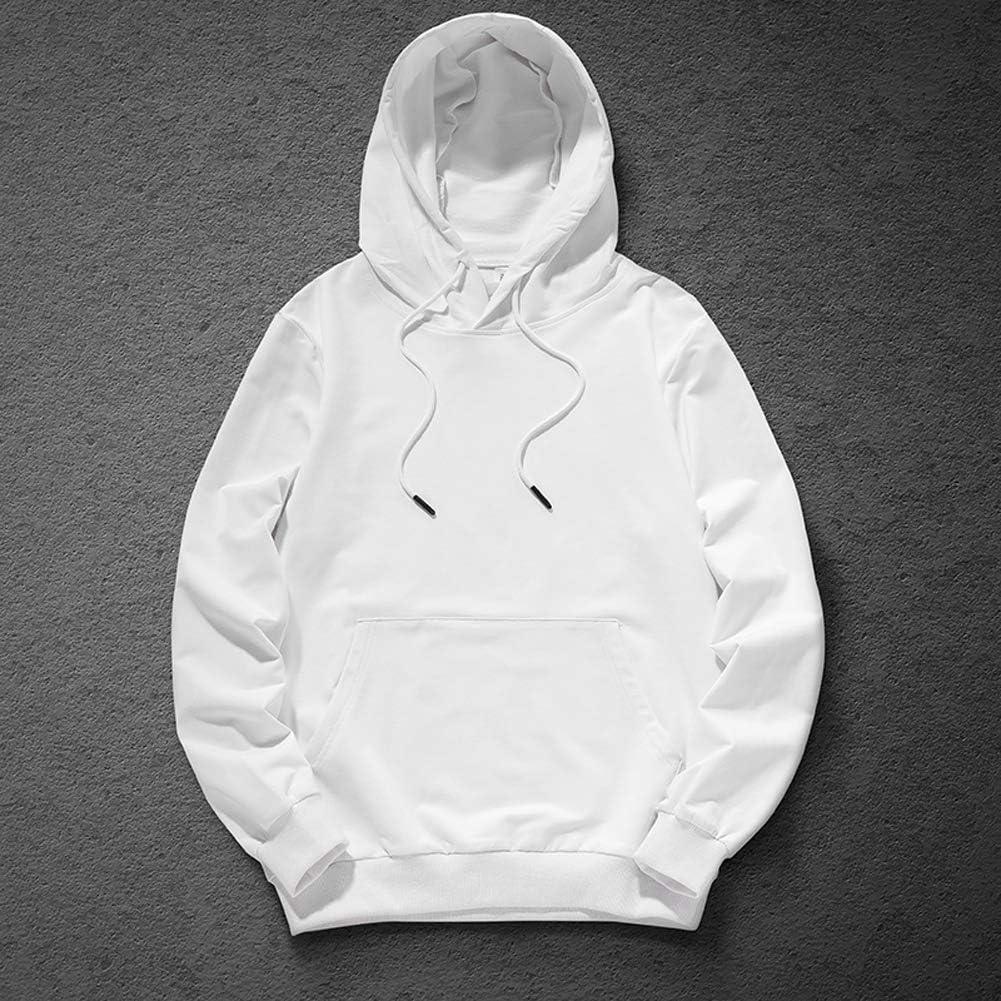 Mens Fashion Hoodies Solid Color Pullover Sweatshirt Basic Hooded Drawstring Pocket Sweatshirt for Women