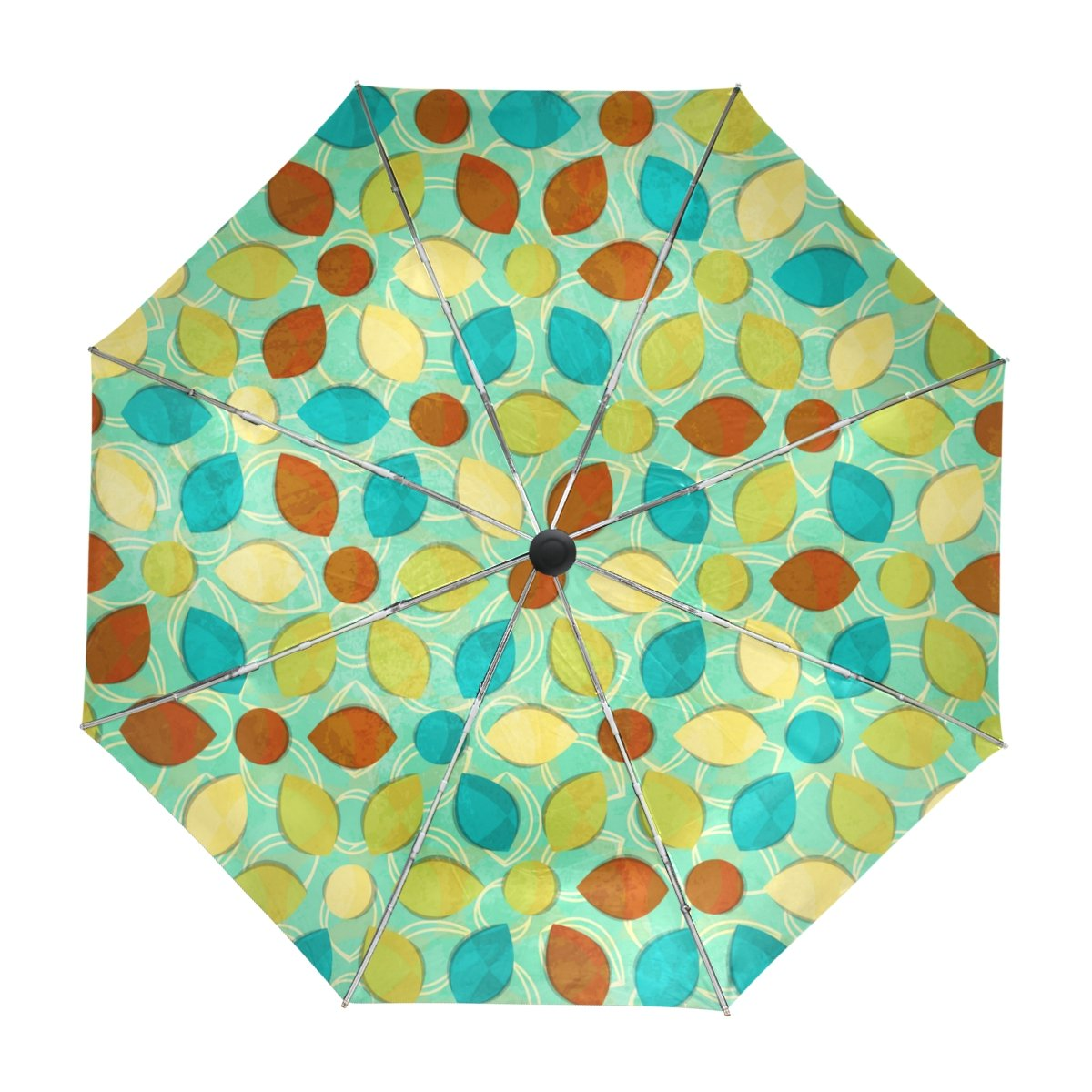 My Daily Watercolor Flowers And Leaves Vintage Travel Umbrella Auto Open Close UV Protection Windproof Lightweight Umbrella