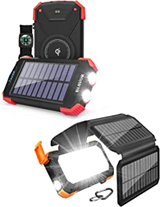 10,000mAh Solar Power Bank for Daily Use Plus 20,000mAh Solar Panel Charger for Outdoor Use