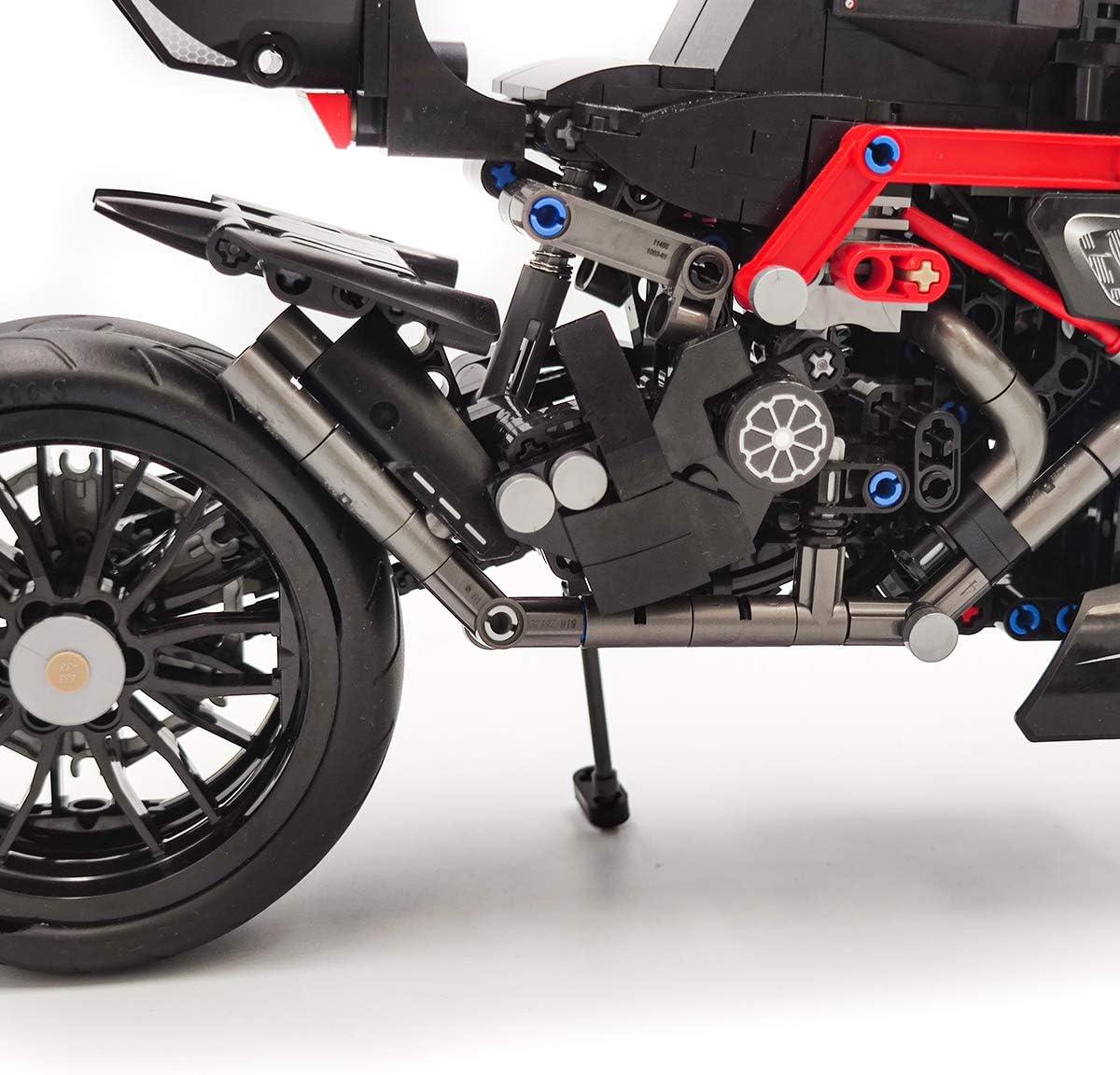 dOvOb Creator Expert Black Super Cross-Country Motorcycle Set,Adult Car Model,Building Blocks 702 PCS