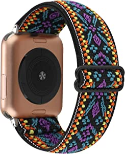 YOSWAN Stretchy Nylon Solo Loop Strap Compatible with Apple Watch Band 38/40mm Soft Breathable Adjustable Elastic Women Wristband for iWatch SE Series 6 5 4 3 2 1 (Boho Purple Blue, 38mm / 40mm)