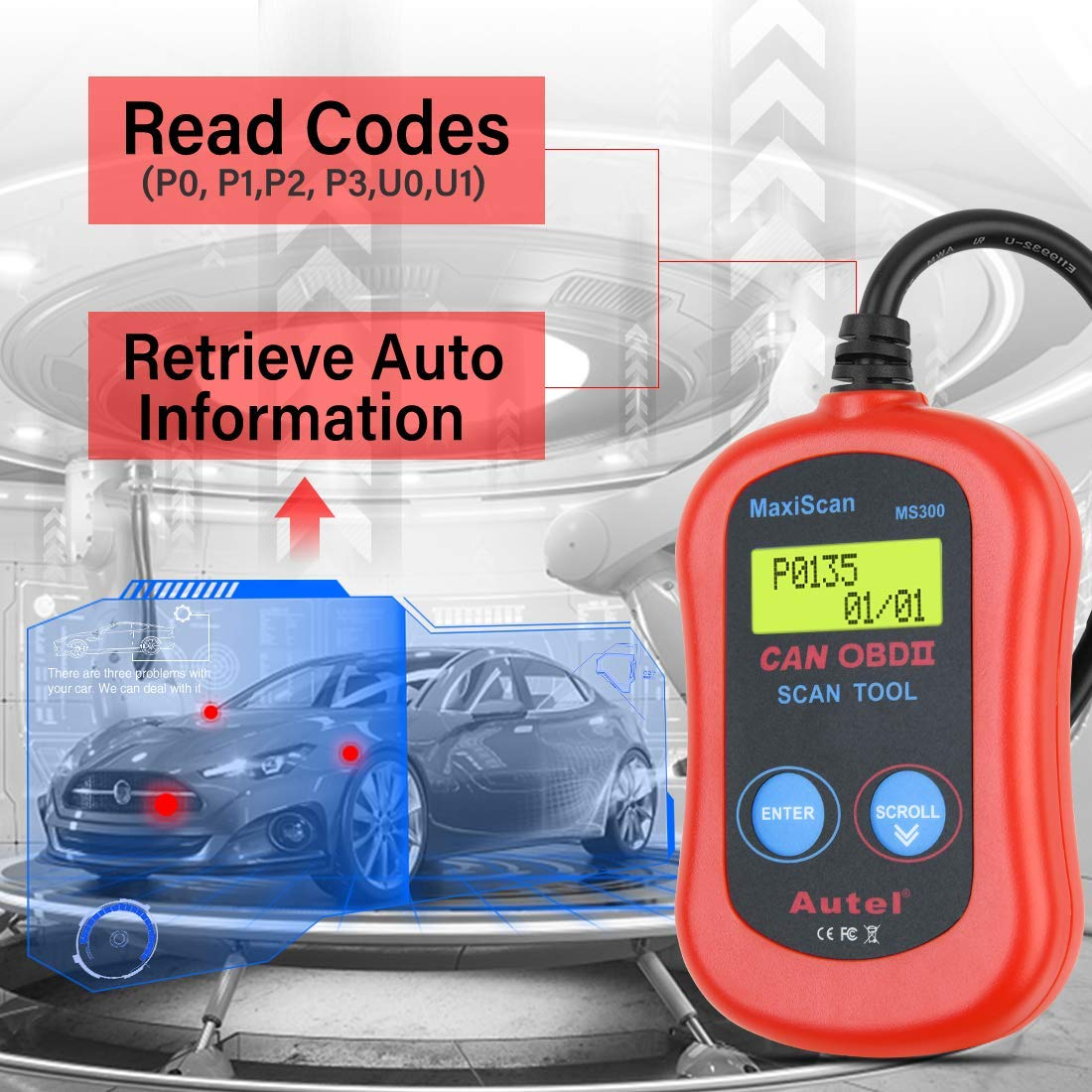 Autel MS300 OBD2 Scanner Fault Code Reader Check Emission Monitor Status Retrieve I//M Readiness Status /& VIN Info CAN Diagnostic Scan Tool Turn Off Check Engine Light Read//Erase Codes