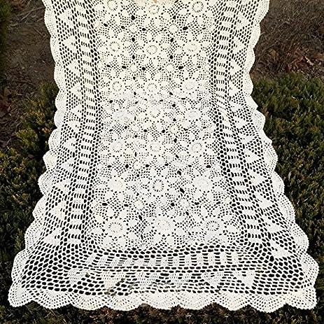 Amazon Tidetex Cotton Crochet Hollow Out Flower Tablecloth