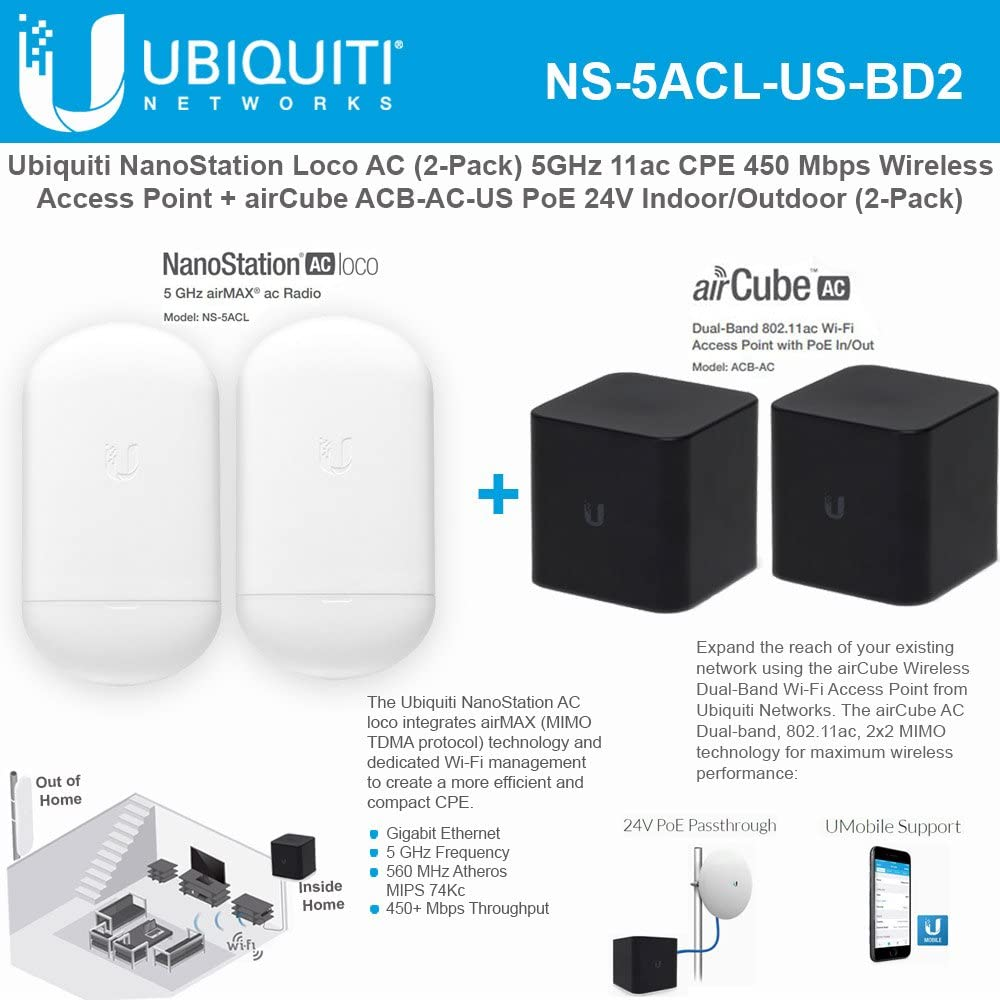 Ubiquiti NS-5ACL Nanostation 5AC Loco 5Ghz Outdoor Wireless AC Bridge//CPE