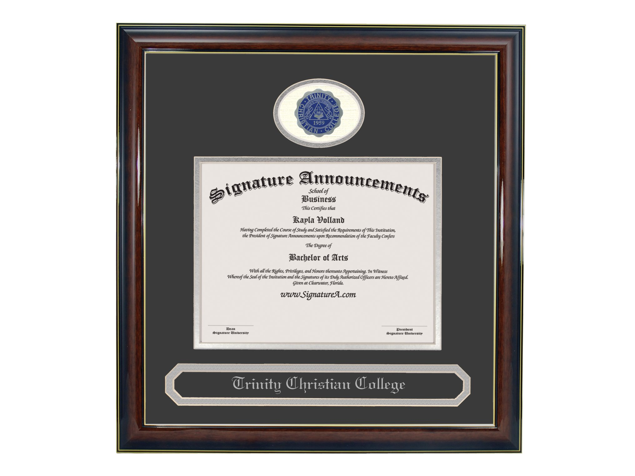 Signature Announcements Trinity Christian College Undergraduate Sculpted Foil Seal & Name Graduation Diploma Frame, 16'' x 16'', Gloss Mahogany with Gold Accent