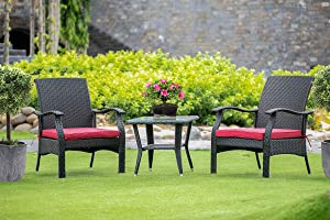 East West Furniture 3Pc Outdoor Black Wicker Dining Set Includes a Patio Tea Table and 2 Balcony Backyard Armchair with Linen Fabric Cushion