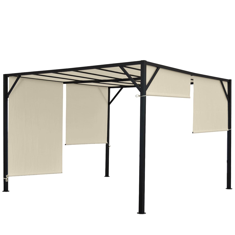 Pergola Baia, Garten Pavillon Terrassenüberdachung, stabiles 6cm-Stahl-Gestell + Schiebedach ~ 4x3m