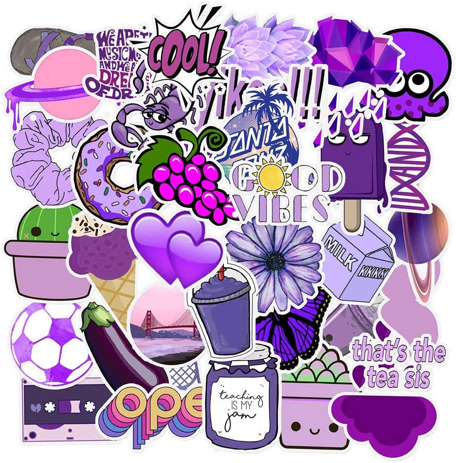 Doraking Noble Purple Waterproof Vinyl Stickers for Water Bottle Scrapbook for Girls Skateboard Suitcase Teens Fruit Laptop Sticker Vsco Purple Stickers Noble Purple, 50PCS//Pack
