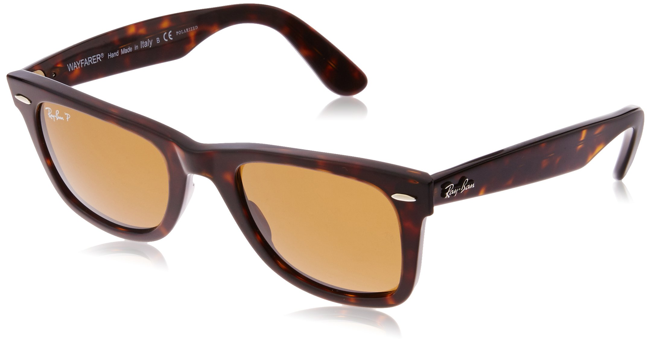 Ray-Ban RB2140 Wayfarer Sunglasses, Striped Tortoise/Polarized Crystal Brown, 50 mm by RAY-BAN