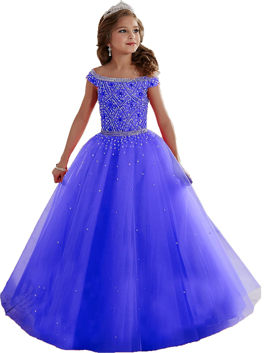 Amazon.com: Big Girls Mint Beaded Floor length Party Ball Gown ...
