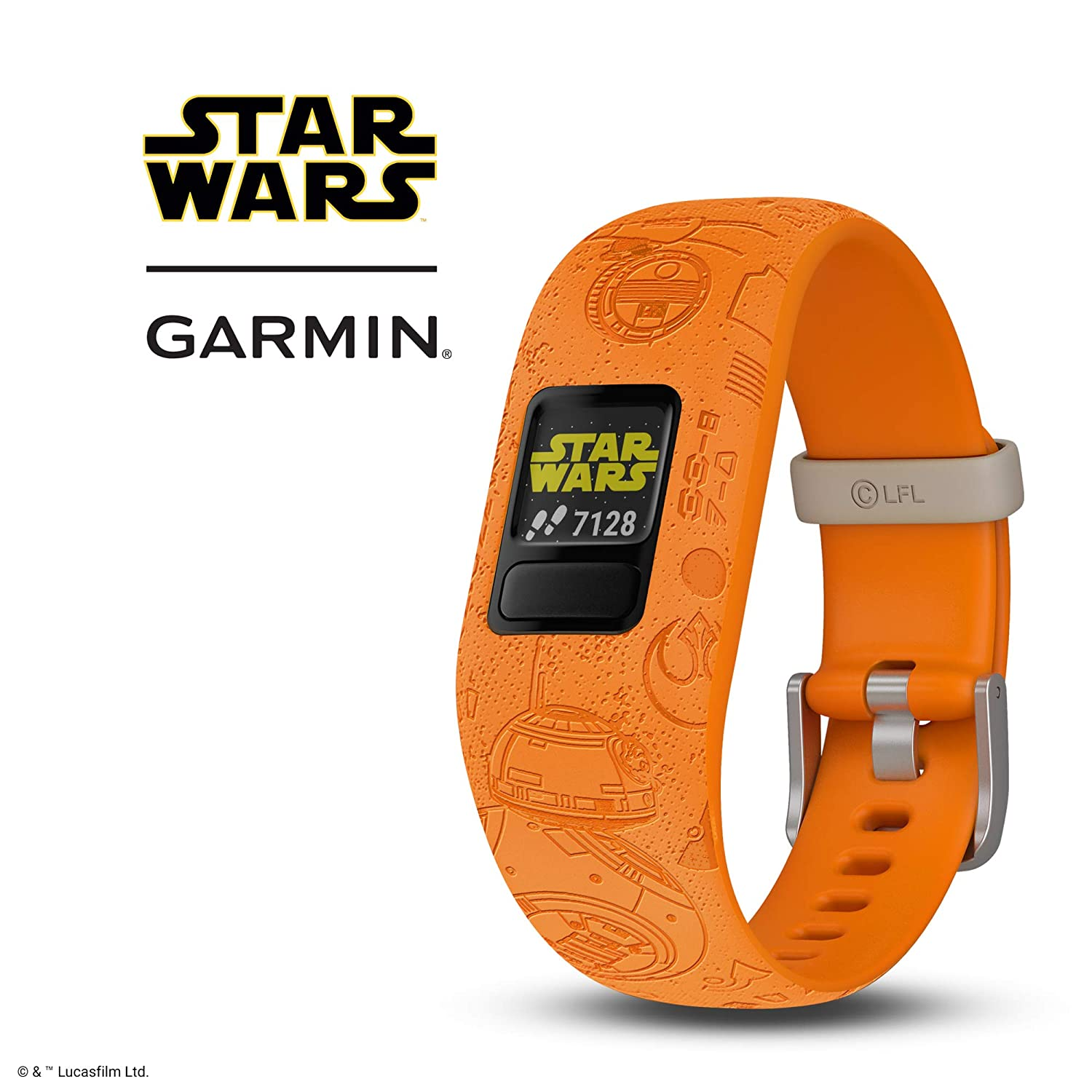 Garmin v vofit Jr 2  Kids Fitness Activity Tracker  1-Year Battery Life  Adjustable Band  Star Wars Light Side  Bright Orange