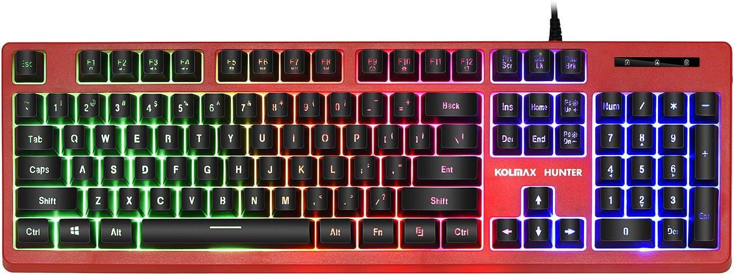 KOLMAX Gaming Keyboard,Rainbow LED Backlit Quiet Keyboard for Office, USB 12 Multimedia Keys,19 Keys Anti-ghosting Computer Office Keyboard 104 Keys for Windows PC Mac Gaming RED