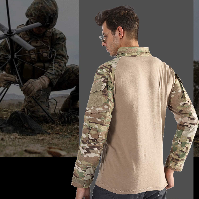 7VSTOHS Camisas de Manga Larga para Hombre Caza de Deportes al Aire Libre  Senderismo tiros Camisetas Camisas Combate Militar  Amazon.es  Deportes y  aire ... 18717cc2f99e9
