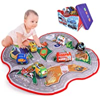 Kitoid 2in1 Car Toy Storage Box&Playmats for Toddler,Baby(including 6 cloth vehicles whom for Age 0+ baby ),Washable…