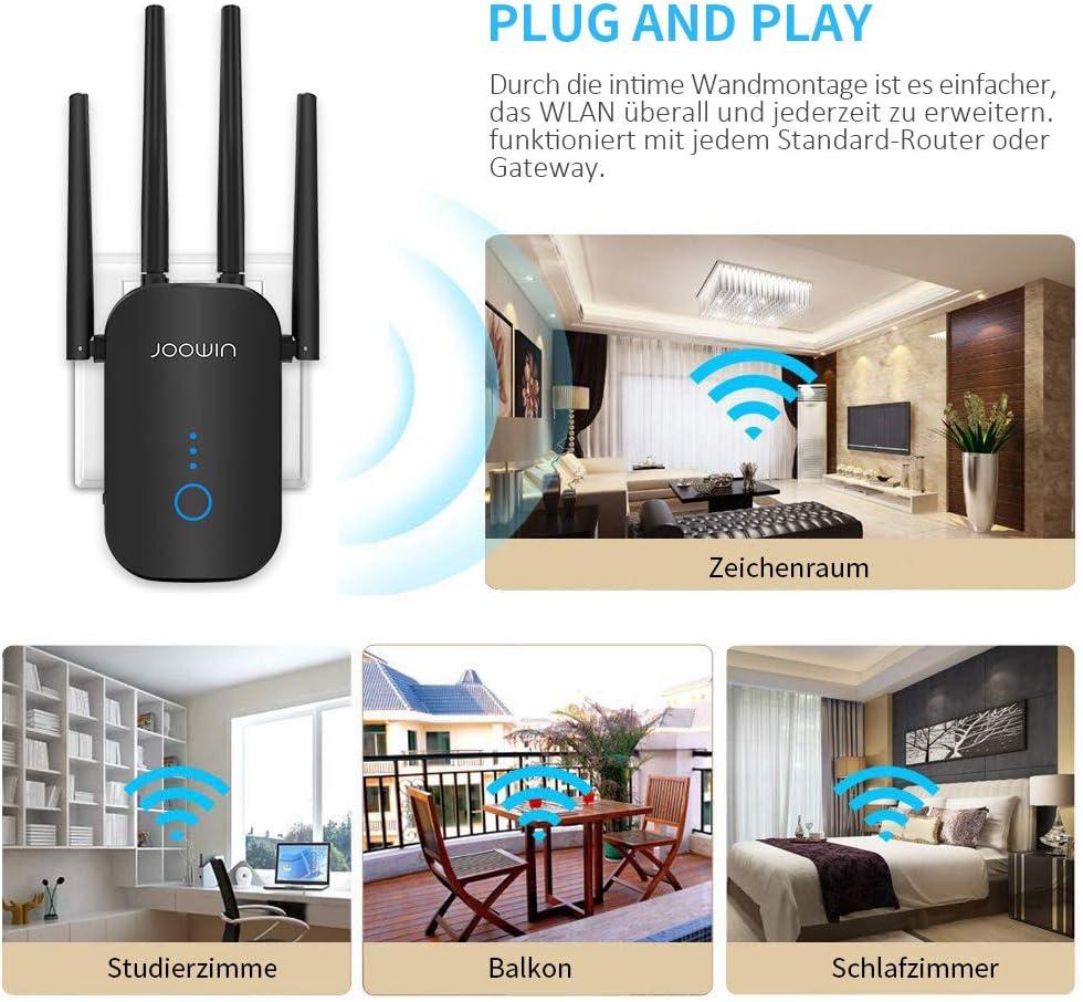 Repetidor WLAN JOOWIN de 17 Mbit/s, amplificador WLAN de 17 GHz 17  Mbit/s, 17,17 GHz 17 Mbit/s, repetidor WiFi con modo AP, repetidor/router,