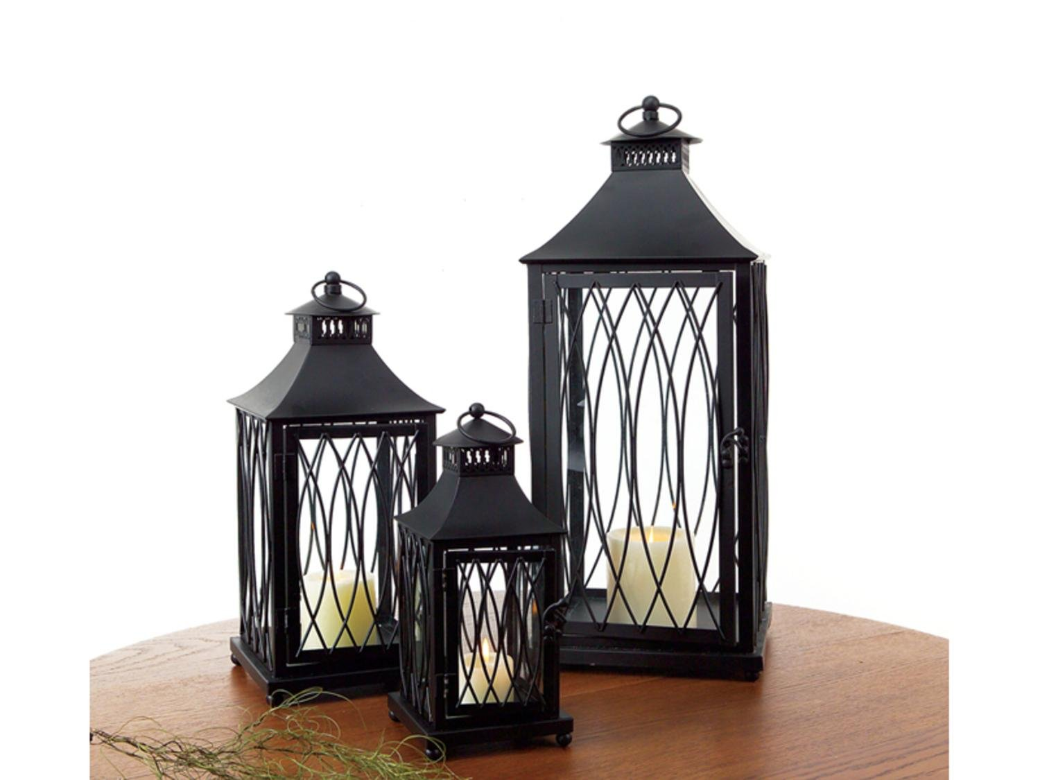 Set of 3 Country Bistro Black Pagoda Style Roof Pillar Candle Lanterns