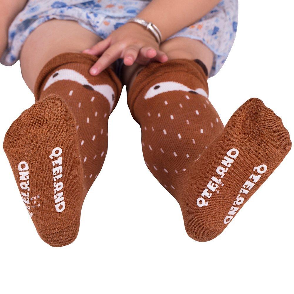Qteland Little Fox Pattern Unisex-baby Knee High Socks Tube socks for Kids 2-pack , Mix 4-6 years L