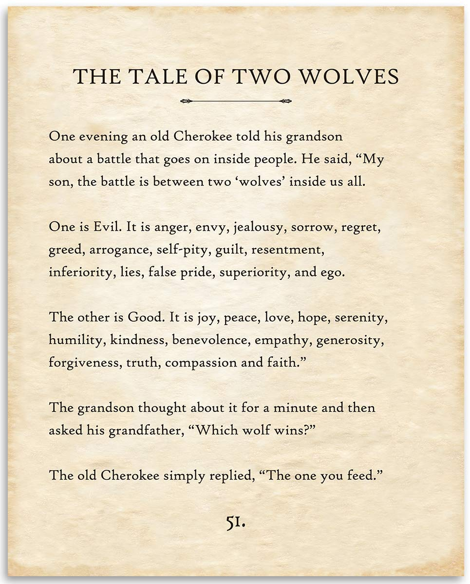 The Tale of Two Wolves - 11x14 Unframed Typography Book Page Print - Great Motivational and Inspirational Gift and Home and Office Decor Under $15
